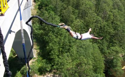 Bungee jumping from a bridge