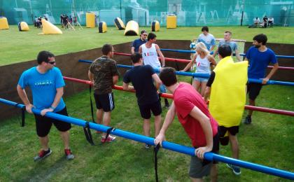 Human table football in Prague