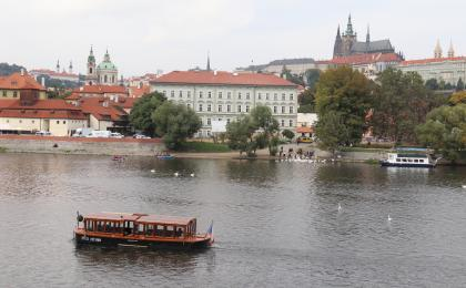 Family cruise on the Vltava river Prague
