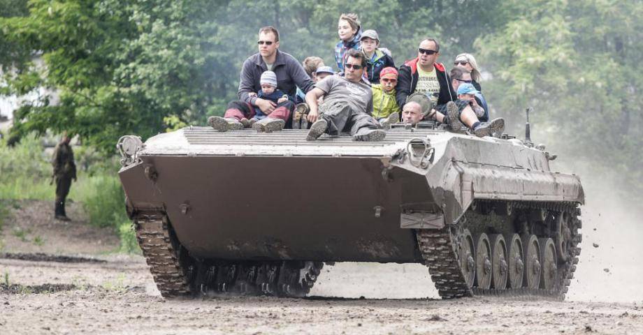 Armoured personnel carrier ride