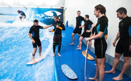 Indoor surfing stag party in Prague