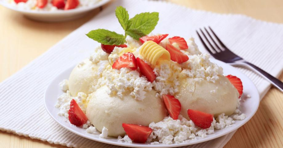 Strawberry Dumplings with cottage cheese