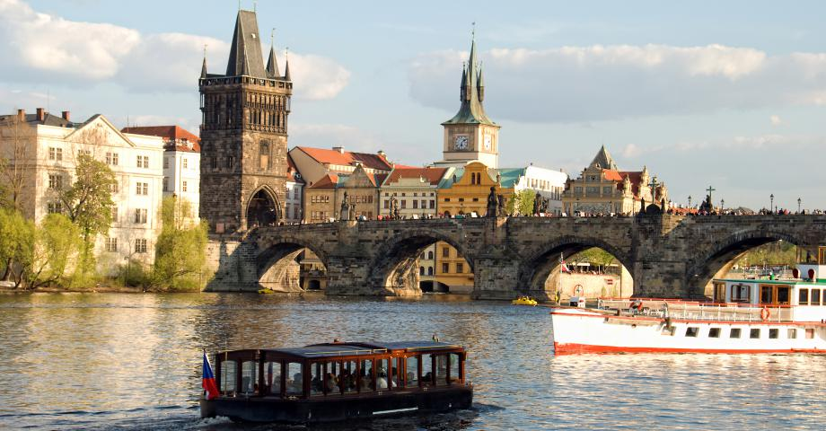Prague river cruise on the Vltava river - Charles Bridge
