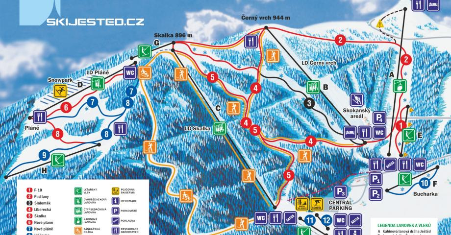 Snowboarding or skiing - Ještěd - trail map